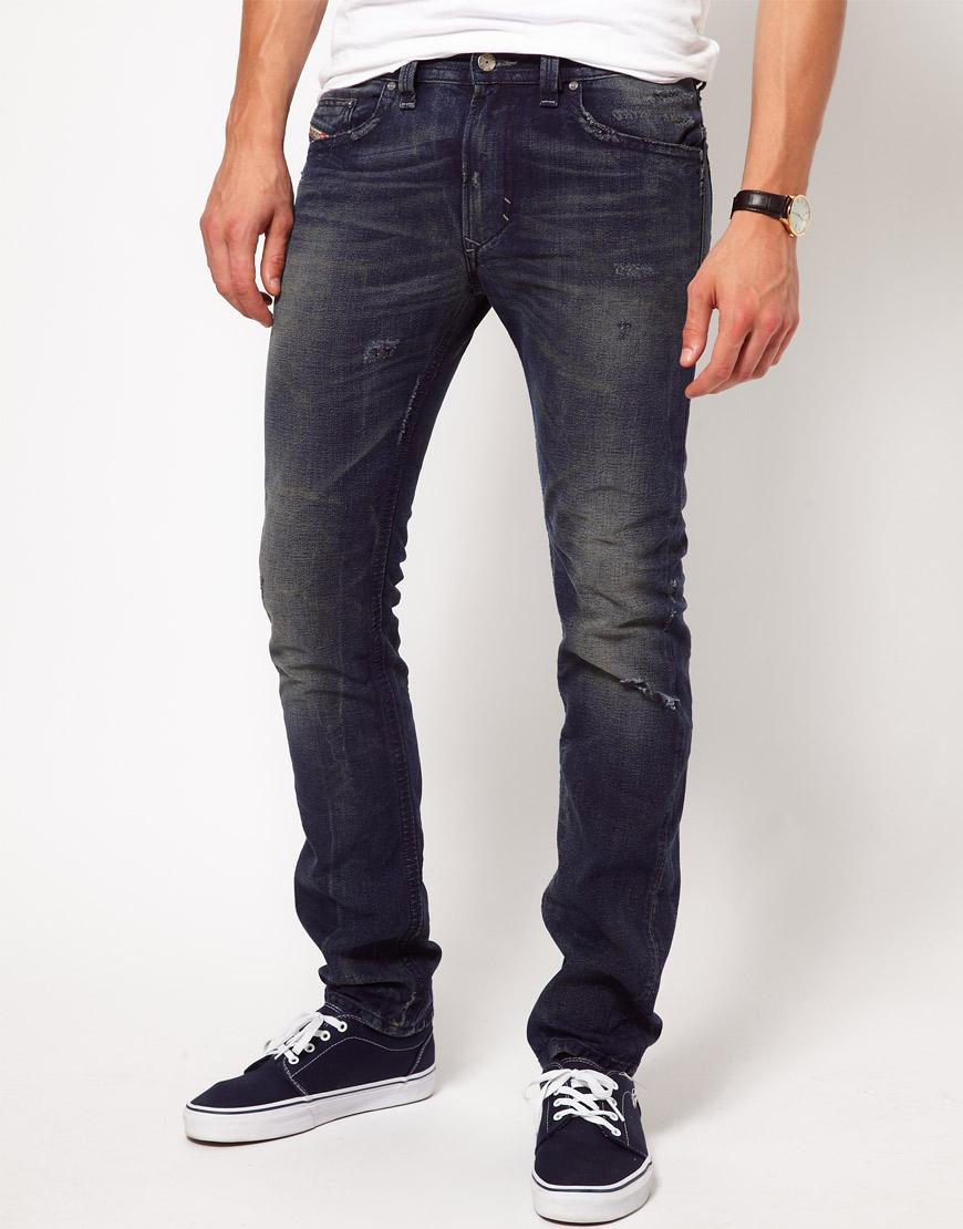 lyst diesel jeans thavar slim 802j in blue for men