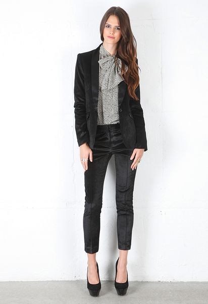 Elizabeth And James Velvet Rex Tux Blazer in Black