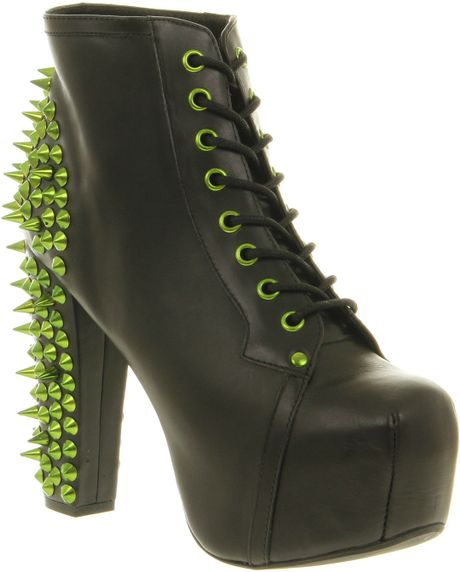 Jeffrey campbell lita platform ankle boot black lthr green spikes in black lyst - Jeffrey campbell lita platform boots ...