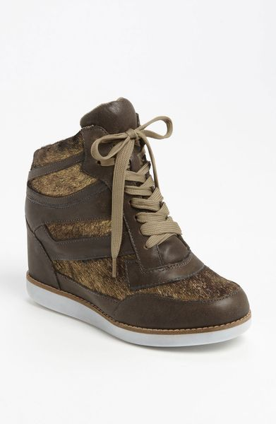 Jeffrey Campbell Gio Hidden Wedge Sneaker in Brown (khaki gold)