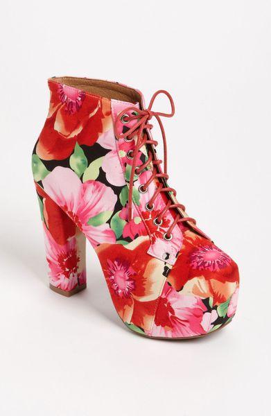 jeffrey campbell lita bootie in floral red pink flower print lyst. Black Bedroom Furniture Sets. Home Design Ideas