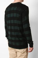 Markus Lupfer Distorted Check Knit Sweater in Black for Men - Lyst