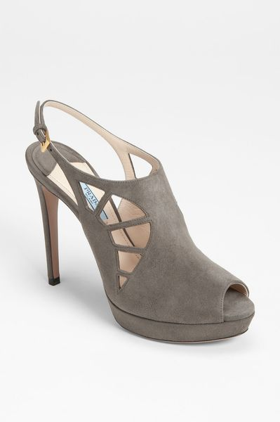 Prada Slingback Bootie in Gray (grey) - Lyst