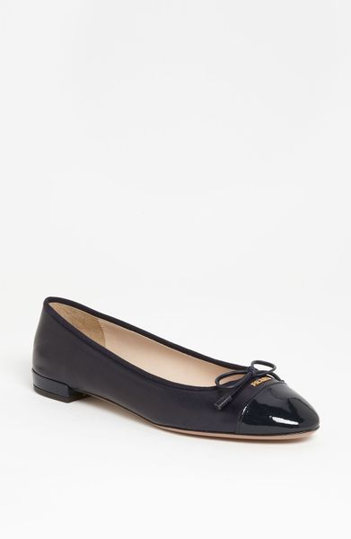 Prada Bow Ballerina Flat in Black (navy) - Lyst