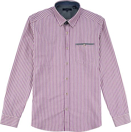 Ted Baker Ted Baker Ardram Flannel Stripe Shirt Purple in Purple for Men - Lyst