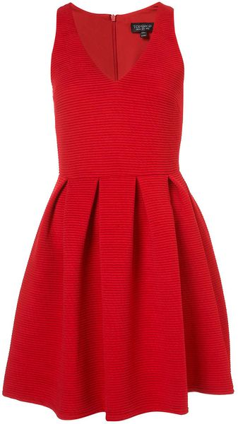 Topshop Cherry Twist Rib Skater Dress - Lyst