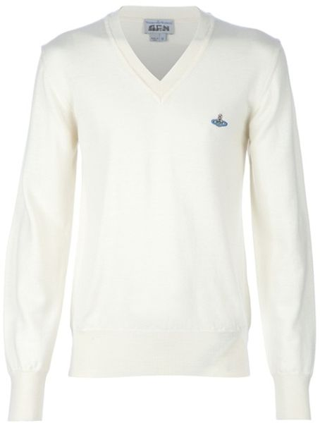 Vivienne Westwood Vneck Knit Sweater in White for Men (cream) - Lyst