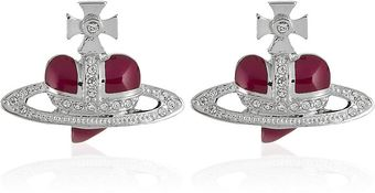 Vivienne Westwood Diamante Heart Stud Earrings - Lyst