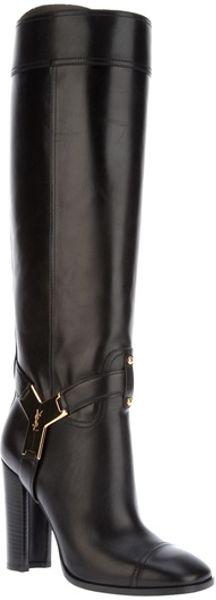 Saint Laurent Knee Length Boot in Black - Lyst