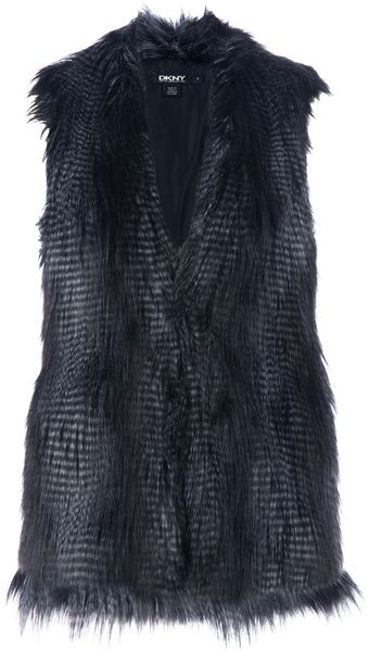 DKNY Faux Fur Sleeveless Jacket - Lyst