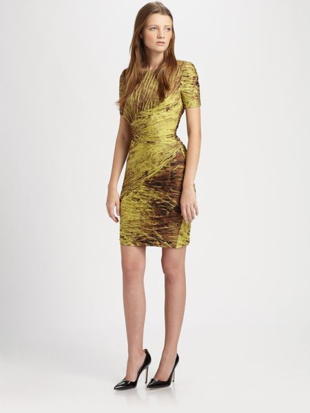 Halston Heritage Printedruched Dress in Brown (chartreuse) - Lyst