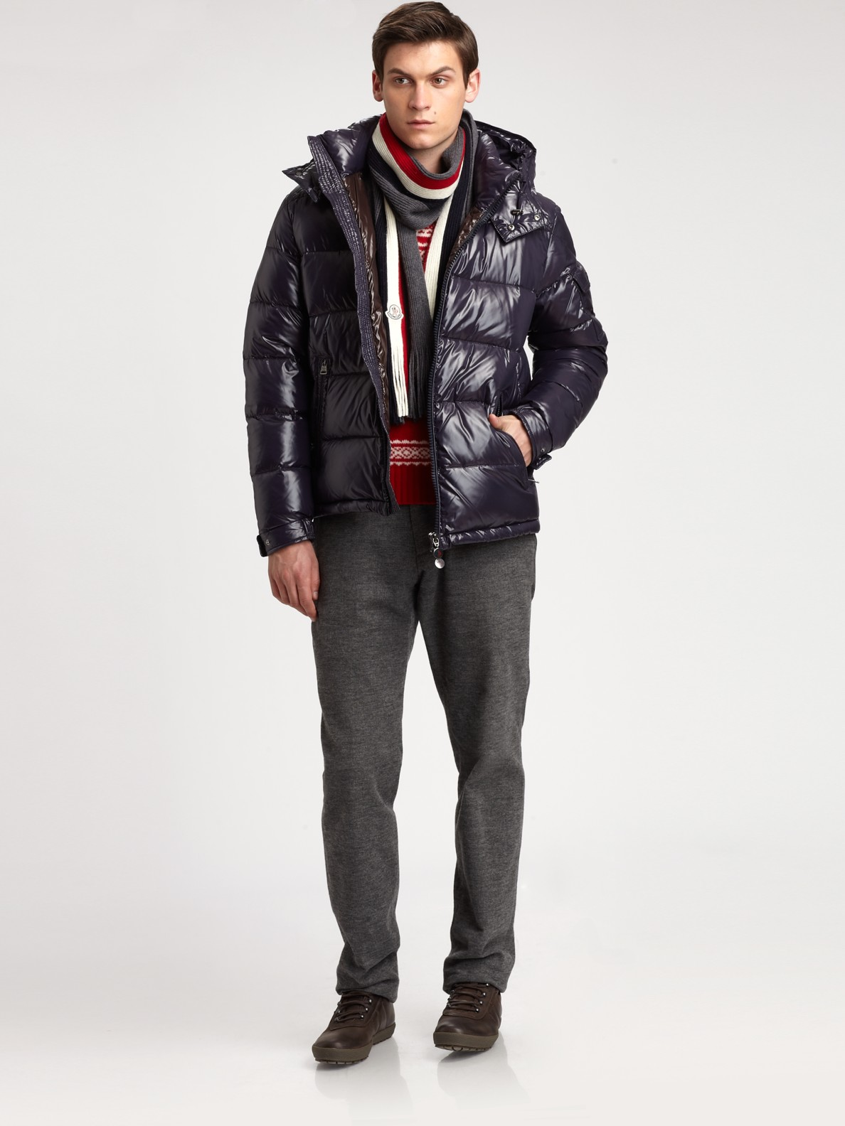 Lyst Moncler Maya Hooded Down Jacket In Blue For Men