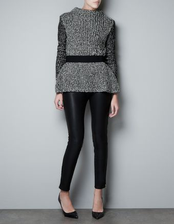 Zara Twist Knit Frilled Jumper - Lyst