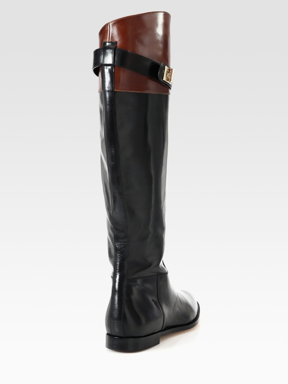 Cole haan Twotone Leather Riding Boots in Black | Lyst