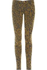 J Brand Brocade Flocked Low Rise Skinny Jeans in Khaki (blue) - Lyst