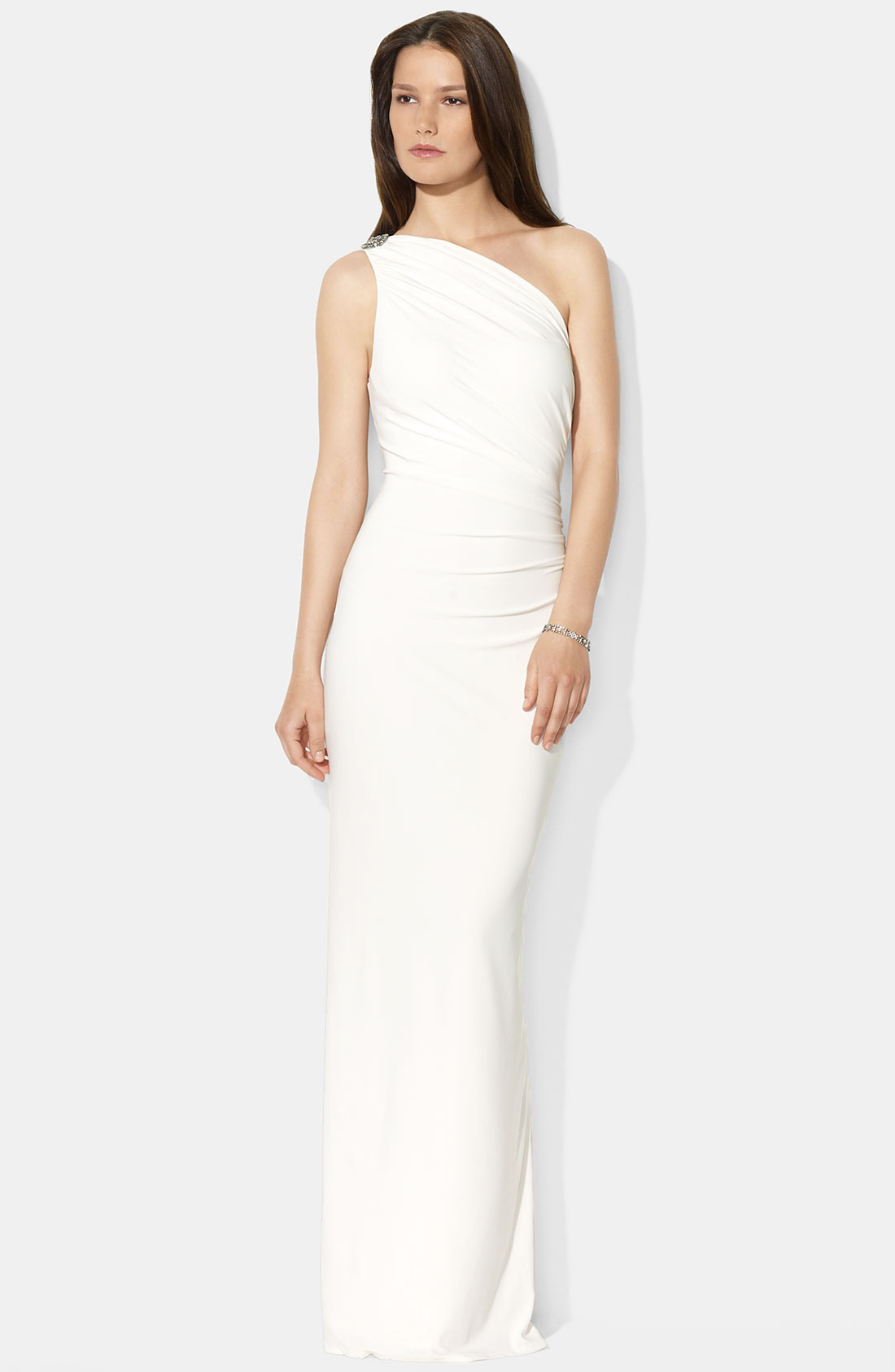 One Shoulder White Gown