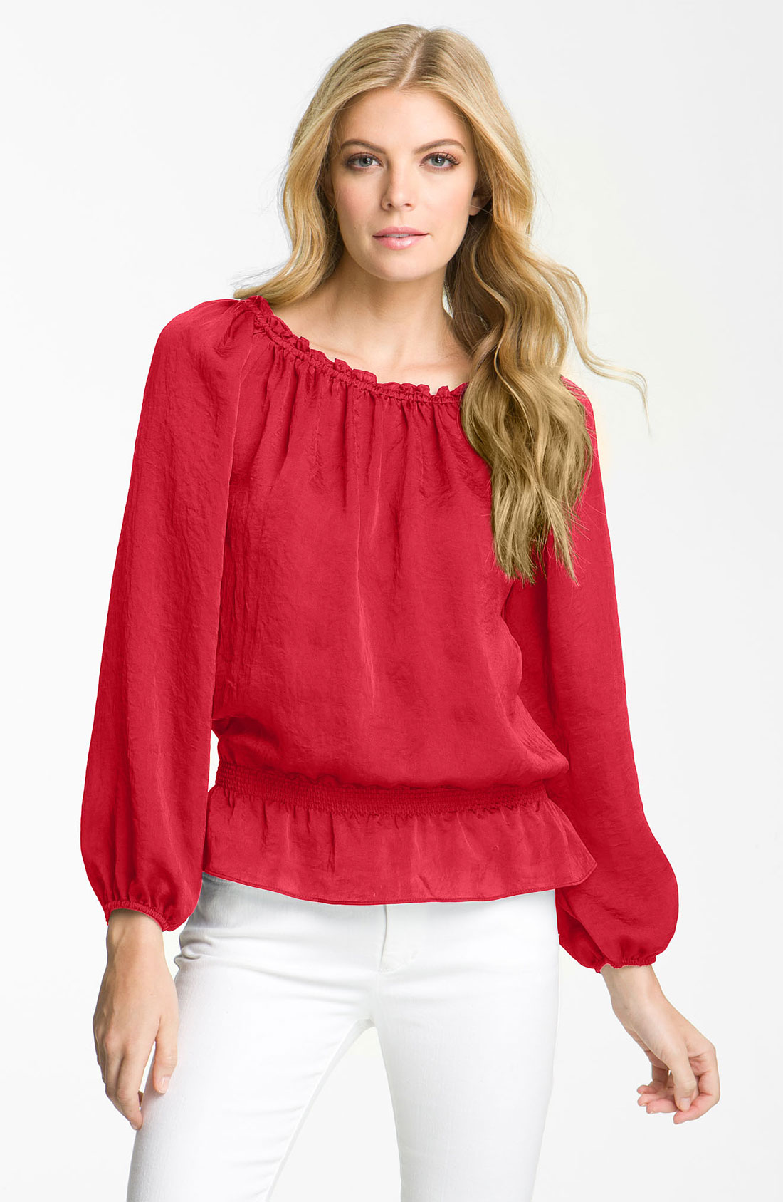 Peasant Blouse With Elastic Waist