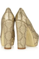 Stella Mccartney Metallic Brocade Platform Pumps in Gold - Lyst