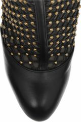 Valentino Studded Leather and Mesh Ankle Boots in Black - Lyst