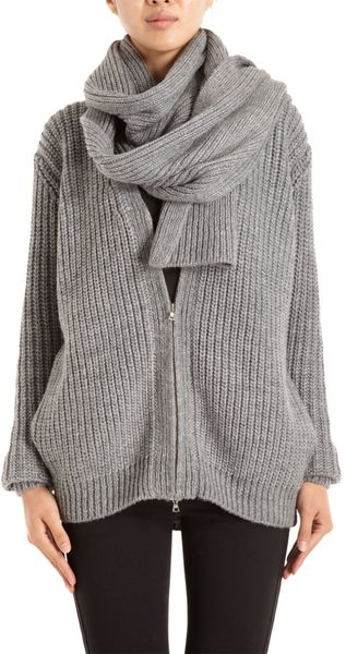 3.1 Phillip Lim Zip Cardigan with Scarf - Lyst