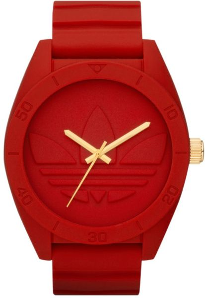 Adidas Red Silicone Strap Watch In Red For Men Lyst