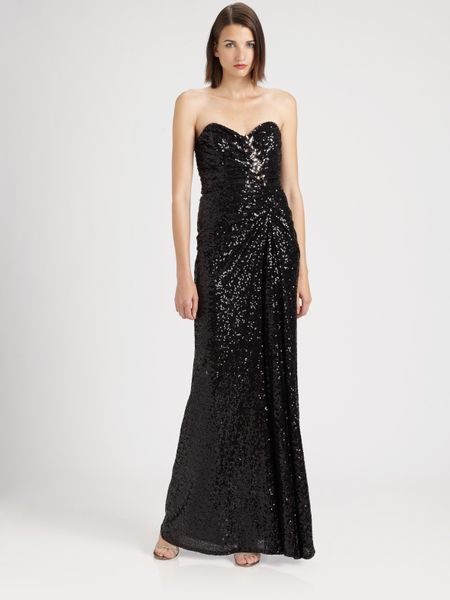Badgley Mischka Strapless Sequined Gown in Blue (navy) - Lyst