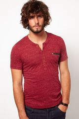 Diesel Tshirt with Grandad Collar - Lyst