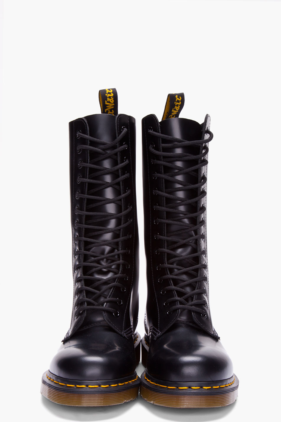 Dr Martens Tall Black Leather Lace Up Boots In Black For