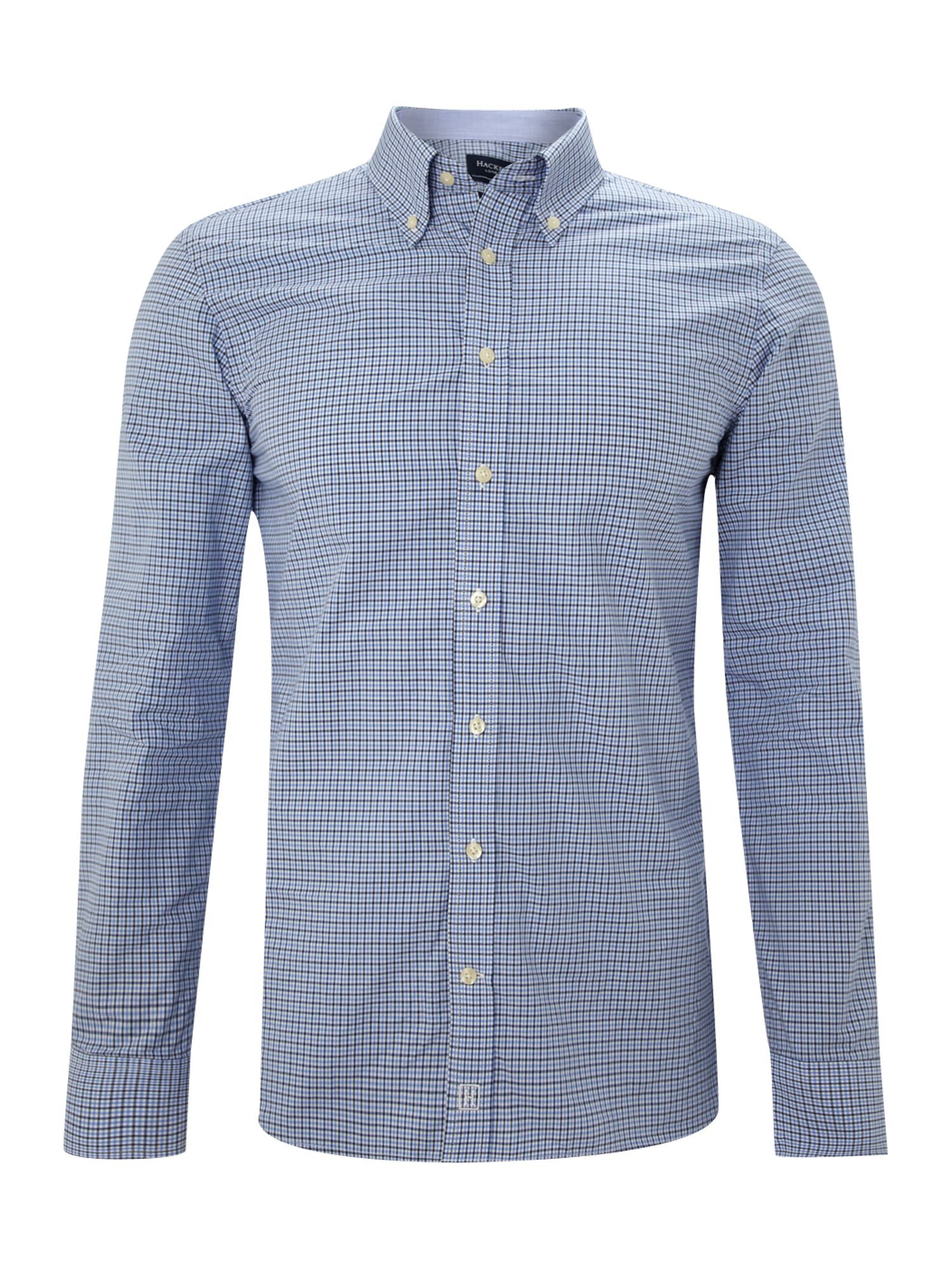 Hackett Long Sleeve Two Tone Gingham Shirt In Blue For Men