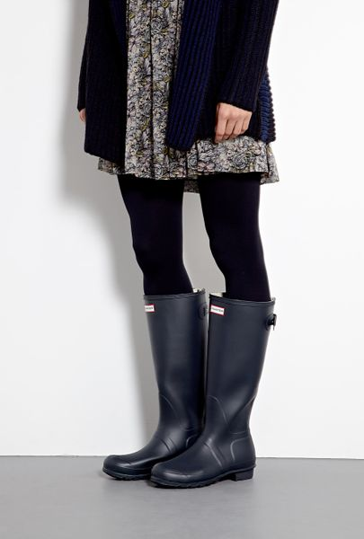 Hunter Navy Original Back Adjustable Boots In Blue Navy
