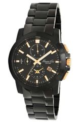 Kenneth Cole  Chronograph Black Ion Plated Stainless Steel Bracelet  - Lyst
