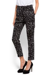 Mango Printed Tapered Trousers in Black - Lyst
