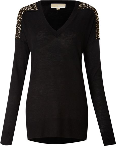Michael By Michael Kors Silk and Cashmere Studded Sweater in Black - Lyst