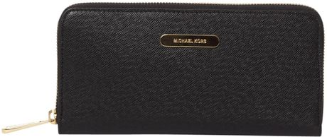 Michael Kors Saffiano Large Ziparound Purse in Black