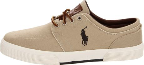 polo ralph lauren polo ralph lauren mens faxon low sneaker in beige. Black Bedroom Furniture Sets. Home Design Ideas