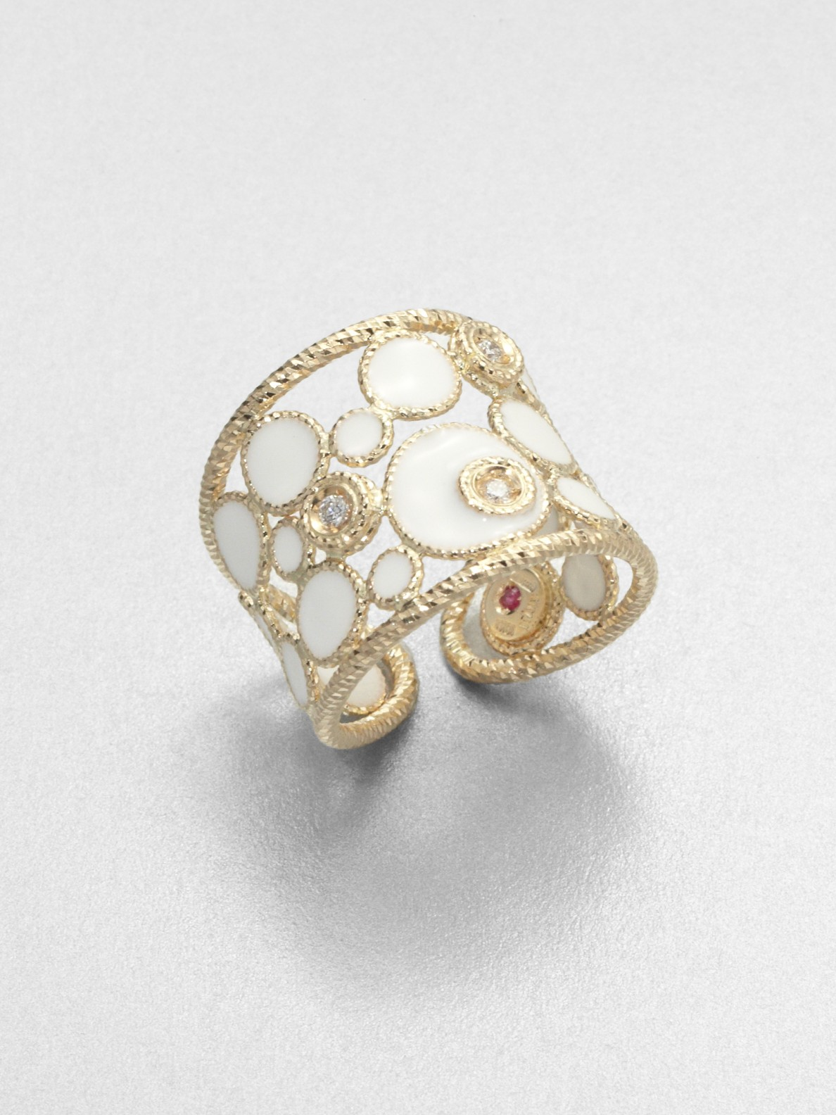 Lyst Roberto Coin Diamond Enamel 18k Gold Ring In White