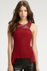 Sachin & Babi Sasha Leather Collar Top in Black (wine) - Lyst