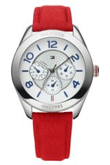 Tommy Hilfiger Womens Red Leather Strap Watch - Lyst