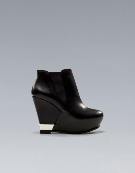 zara wedge ankle boot with metal detail in black lyst