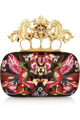 Alexander McQueen Unicorn Skull Embroidered Satin Box Clutch - Lyst