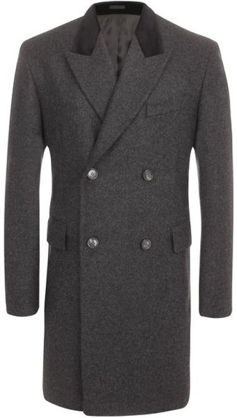 Alexander McQueen Velvet Collar Double Breasted Coat - Lyst