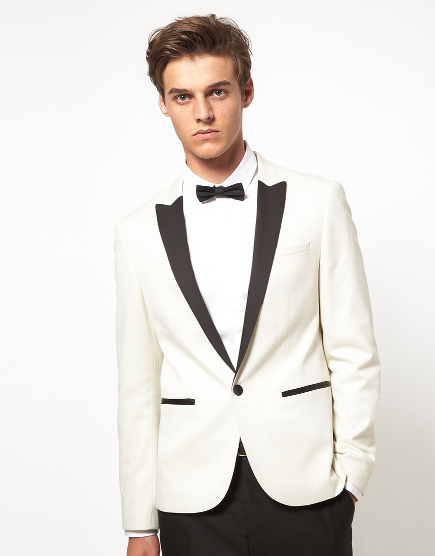 Asos Asos Slim Fit Tuxedo Suit Jacket In White In White