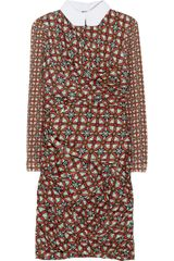 Carven Printed Silk Satin Dress - Lyst