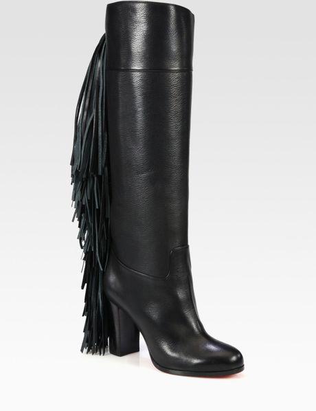 christian louboutin glamafrange fringe leather boots in