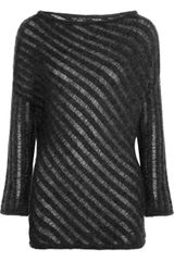 Donna Karan New York Ladders-Stitch Mohair-Blend Sweater - Lyst