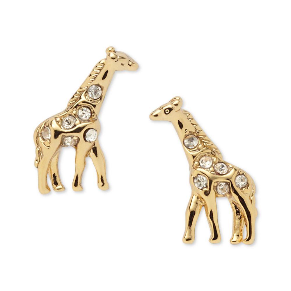 Giraffe Earrings Giraffe Things Source · Fossil Gold Tone Diamond Crystal  Giraffe Stud Earrings In Metallic