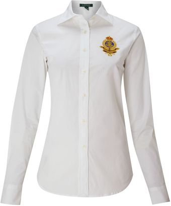 Lauren by Ralph Lauren Alie Long Sleeve Shirt with Crest - Lyst