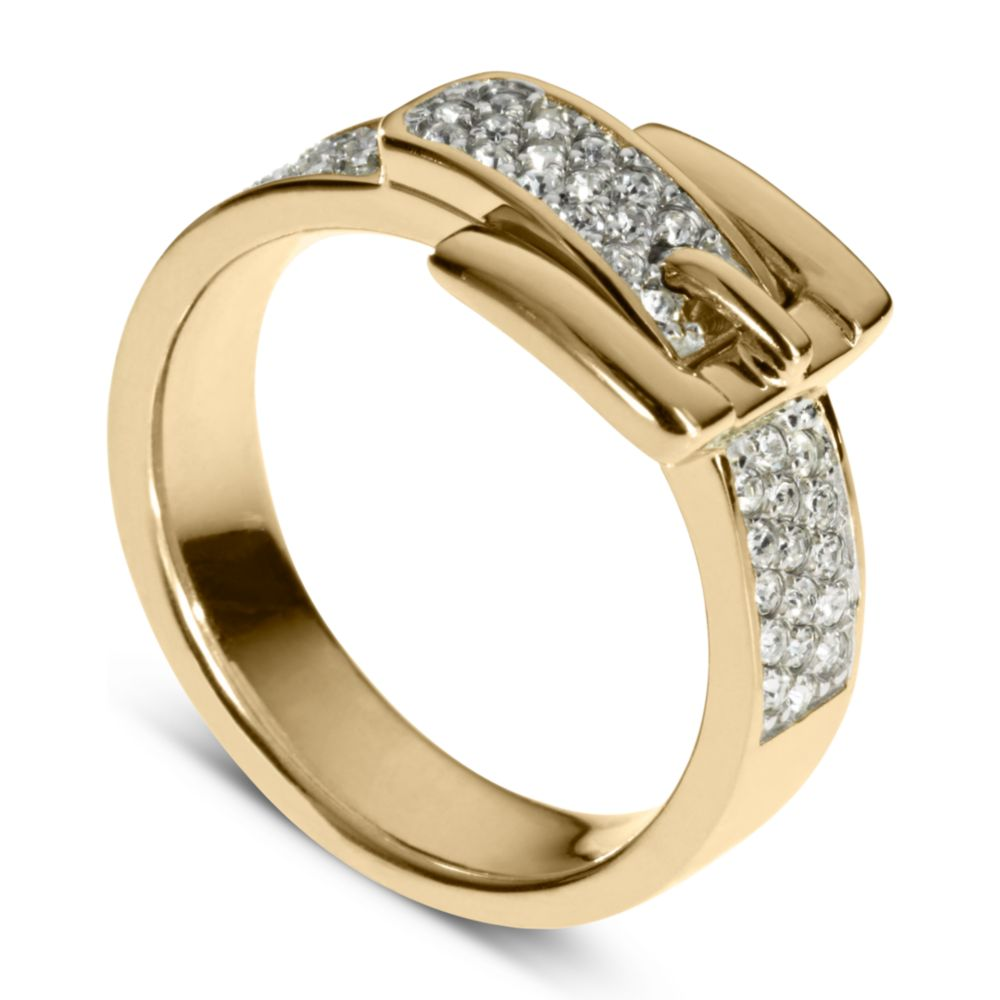 michael kors gold tone pave buckle ring in gold lyst