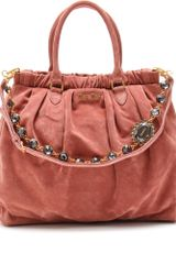Miu Miu Suede Tote with Crystalembellished Shoulder Strap - Lyst