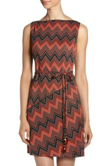 Muse Chevron-Print Belted Dress - Lyst